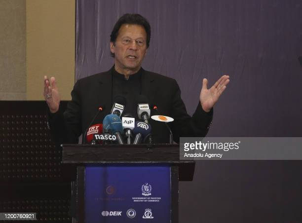 Prime Minister of Pakistan Imran Khan makes a speech as he attends the Pakistan - Turkey Business and Investment Forum in Islamabad, Pakistan on...