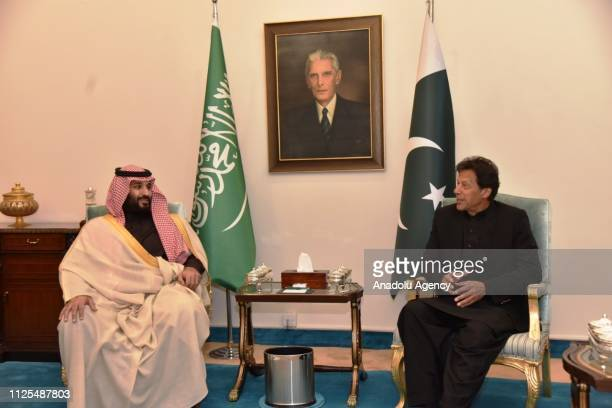 Prime Minister of Pakistan Imran Khan meets Crown Prince of Saudi Arabia Mohammad bin Salman in Islamabad Pakistan on February 17 2019