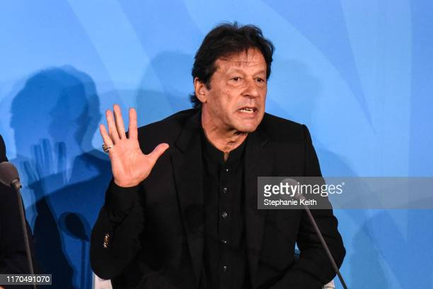 Prime Minister of Pakistan Imran Khan speaks at the Climate Action Summit at the United Nations on September 23, 2019 in New York City. While the...