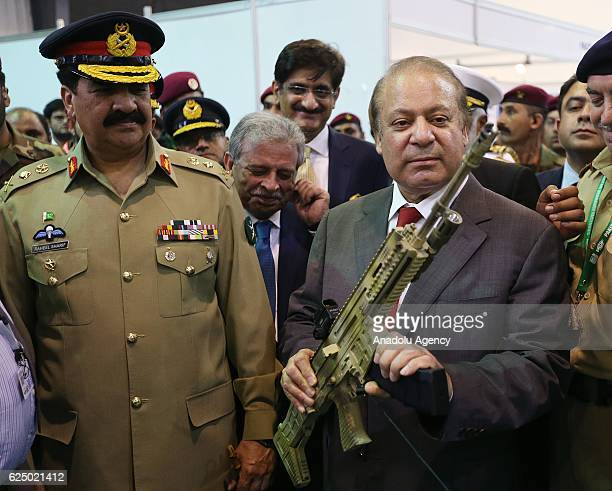 Prime Minister of Pakistan Nawaz Sharif and Pakistan's Chief of Army Staff Raheel Sharif visit the 9th International Defence Exhibition and seminar...