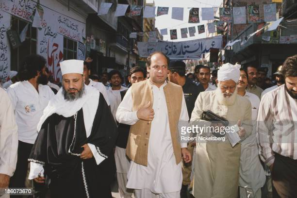 Prime Minister of Pakistan Nawaz Sharif in a street in Pakistan circa 1990