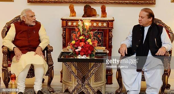 Prime Minister of Pakistan Nawaz Sharif meets with Indian Prime Minister Narendra Modi in Lahore Pakistan on December 25 2015