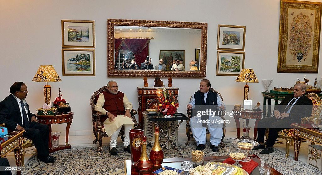 Prime Minister of Pakistan Nawaz Sharif meets with Indian Prime Minister Narendra Modi in Lahore Pakistan on December 25 2015