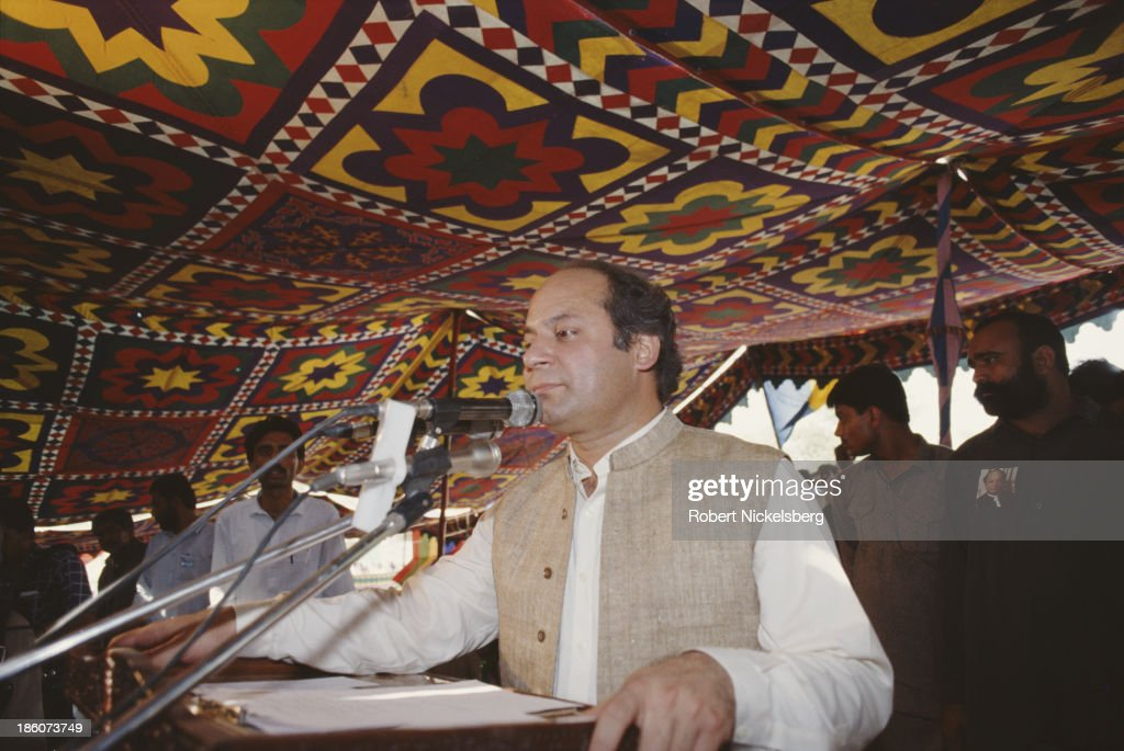 Prime Minister of Pakistan Nawaz Sharif talking to a crowd in Pakistan, circa 1990.