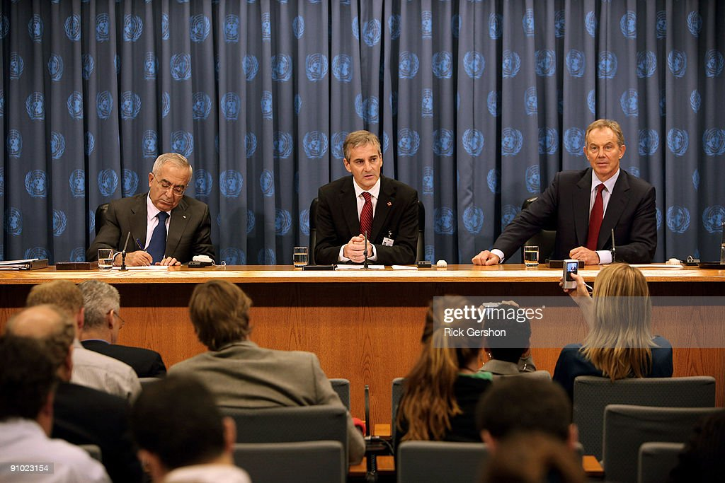 Tony Blair, Foreign Minister Of Norway And Palestinian PM Brief The Media