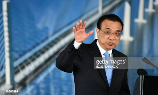 Prime minister of People's Republic of China Li Keqiang speaks during his visit to the construction site of the bridge connecting the Croatian...