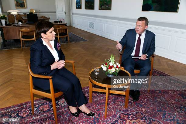 Prime Minister of Poland Beata Szydlo and Danish Prime Minister Lars Loekke Rasmussen at a tête-à-tête in the Danish Prime Minister's Office at...
