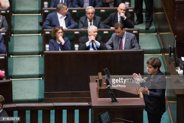 Prime Minister of Poland Beata Szydlo and Jaroslaw Kaczynski during a night debate on a Supreme Court bill in the lower house of Polish Parliament in...