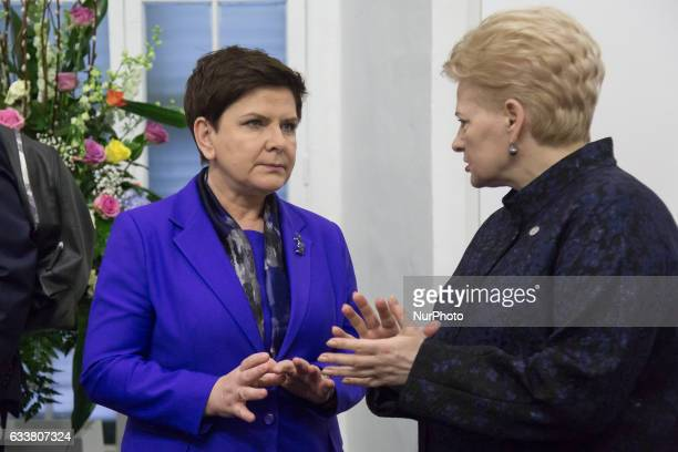 Prime Minister of Poland Beata Szydlo and President of Lithuania Dalia Grybauskaite during the first Working Session of European Council at...