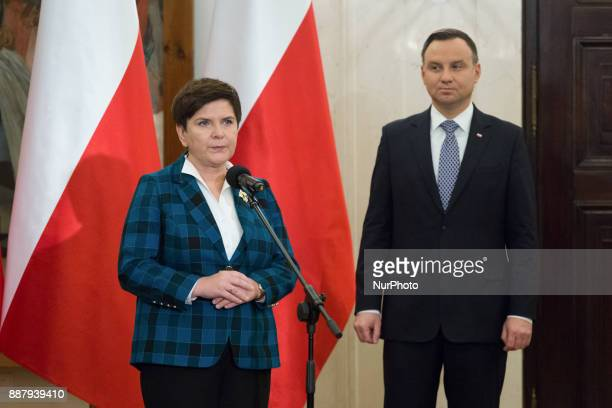 Prime Minister of Poland Beata Szydlo and President of Poland Andrzej Duda in Warsaw Poland on 30 October 2017