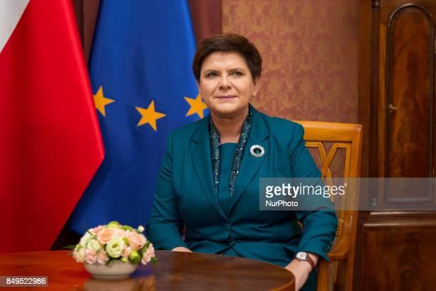 Prime Minister of Poland Beata Szydlo at Chancellery of the Prime Minister in Warsaw Poland on 19 September 2017