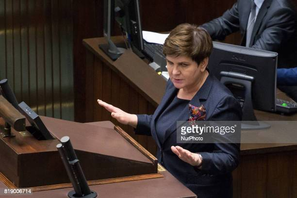 Prime Minister of Poland Beata Szydlo during a night debate on a Supreme Court bill in the lower house of Polish Parliament in Warsaw Poland on 18...
