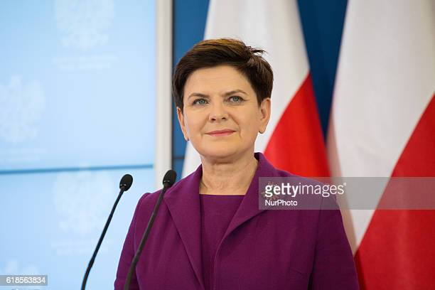 Prime Minister of Poland Beata Szydlo during the press conference at Chancellery of the Prime Minister in Warsaw Poland on 27 October 2016