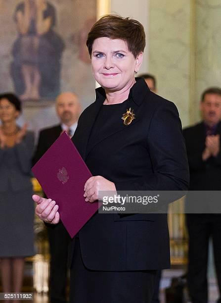 Prime Minister of Poland Beata Szydlo in Warsaw Poland on November 13 2015