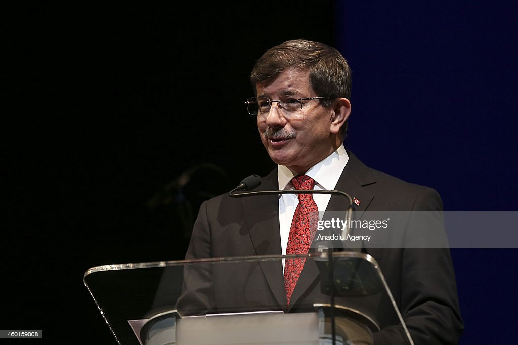 Prime Minister of Poland Ewa Kopacz (unseen) and Turkish Prime Minister Ahmet Davutoglu address the participants during the closing ceremony of the celebrations marking the 600th anniversary of the establishment of diplomatic relations between Turkey and Poland at the Grand Theatre (Teatr Wielki) in Warsaw, Poland on December 08, 2014. Davutoglu's two-day official visit to Poland will focus on Turkey's EU accession talks, crises in Eastern Ukraine, Iraq and Syria.