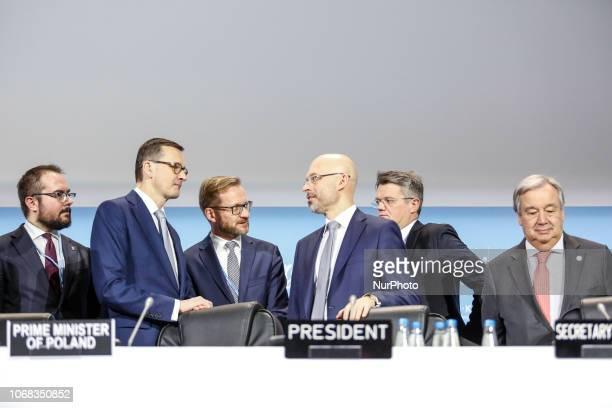Prime Minister of Poland Mateusz Morawiecki and COP24 President Michal Kurtyka talks leaving UN Secretary General Antonio Guterres to the high level...