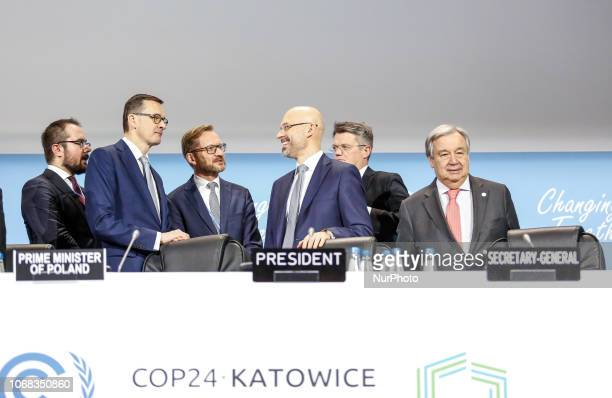 Prime Minister of Poland Mateusz Morawiecki and COP24 President Michal Kurtyka talks leaving UN Secretary General Antonio Guterres to the high level...