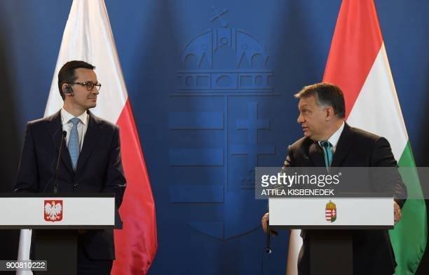 Prime Minister of Poland Mateusz Morawiecki and Hungarian Prime Minister Viktor Orban give a joint press conference at the Hungarian parliament in...