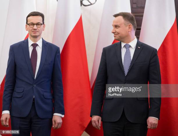 Prime Minister of Poland Mateusz Morawiecki and President of Poland Andrzej Duda during the ceremony of appointing new members of Social Dialogue...