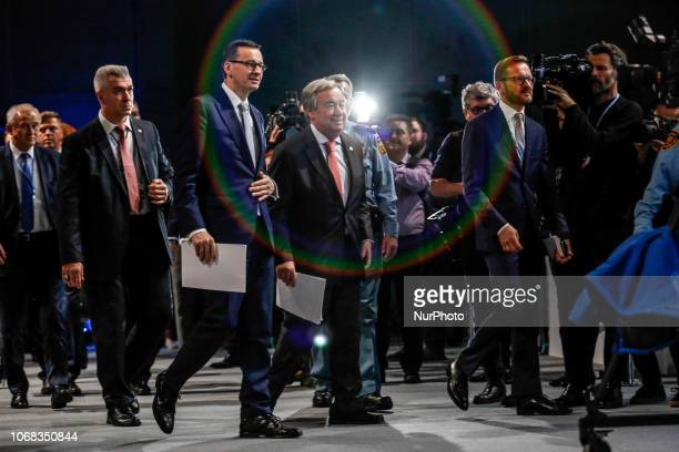 Prime Minister of Poland Mateusz Morawiecki and UN Secretary General Antonio Guterres arrive to the high level panel during the COP24 Katowice Poland...