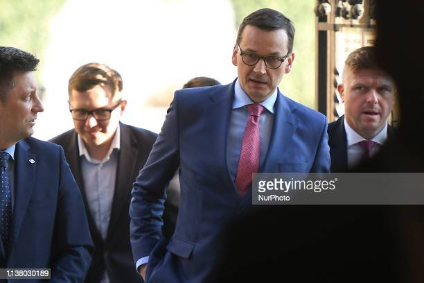 Prime Minister of Poland, Mateusz Morawiecki, arrives at the celebrations of the Holy Thursday mass in Wawel Royal Cathedral, in Krakow. Mateusz...