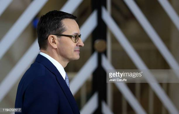 Prime Minister of Poland Mateusz Morawiecki arrives for the december European Council at the Europa building on December 12, 2019 in Brussels,...