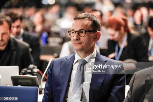 Prime Minister of Poland Mateusz Morawiecki attendes to the high level panel during the COP24 Katowice Poland on the 4th of December 2018 COP24 is...