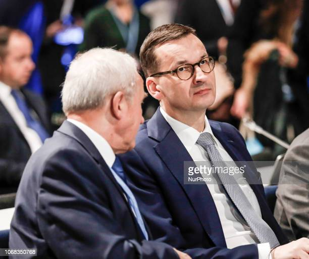 Prime Minister of Poland Mateusz Morawiecki attends high level panel during the COP24 Katowice Poland on the 4th of December 2018 COP24 is organized...