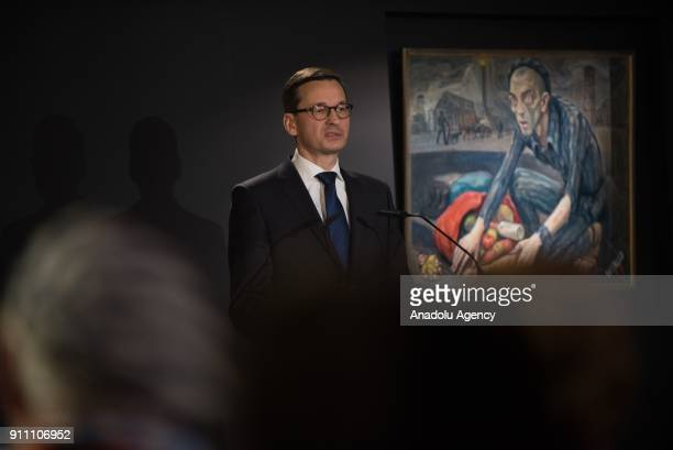 Prime Minister of Poland Mateusz Morawiecki delivers a speech during the main commemoration event at the Sauna building of the former NaziGerman...