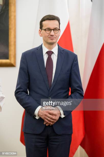 Prime Minister of Poland Mateusz Morawiecki during the ceremony of appointing new members of Social Dialogue Council at Presidential Palace in Warsaw...