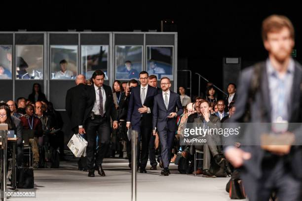 Prime Minister of Poland Mateusz Morawiecki speaks during high level panel at the COP24 Katowice Poland on the 4th of December 2018 COP24 is...