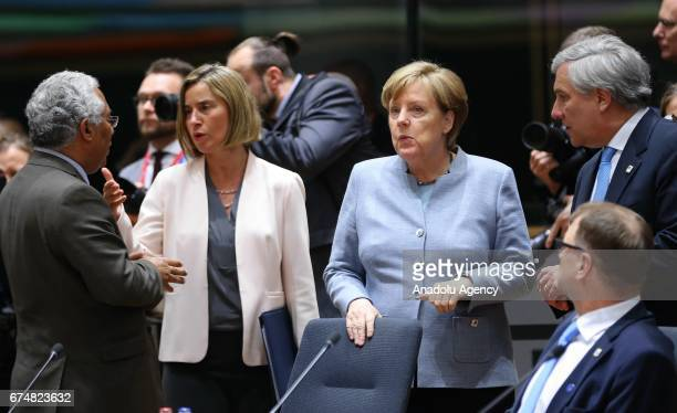 Prime Minister of Portugal Antonio Costa and High Representative of the Union for Foreign Affairs and Security Policy Federica Mogherini and German...
