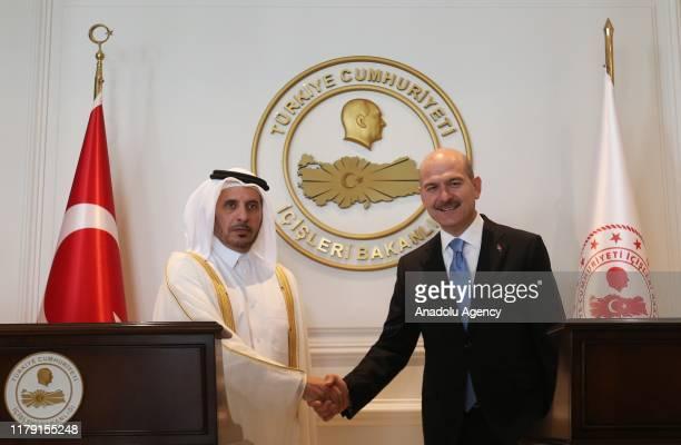 Prime Minister of Qatar Abdullah bin Nasser bin Khalifa Al Thani meets Turkish Interior Minister Suleyman Soylu in Ankara Turkey on October 31 2019