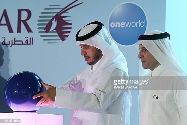 Prime Minister of Qatar Sheikh Abdullah bin Nasser bin Khalifa alThani and Chief Executive of Qatar Airways Akbar Al Baker attend a ceremony to mark...