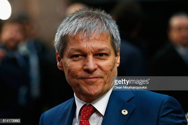 Prime Minister of Romania Dacian Ciolos arrives for The European Council Meeting In Brussels held at the Justus Lipsius Building on March 7 2016 in...