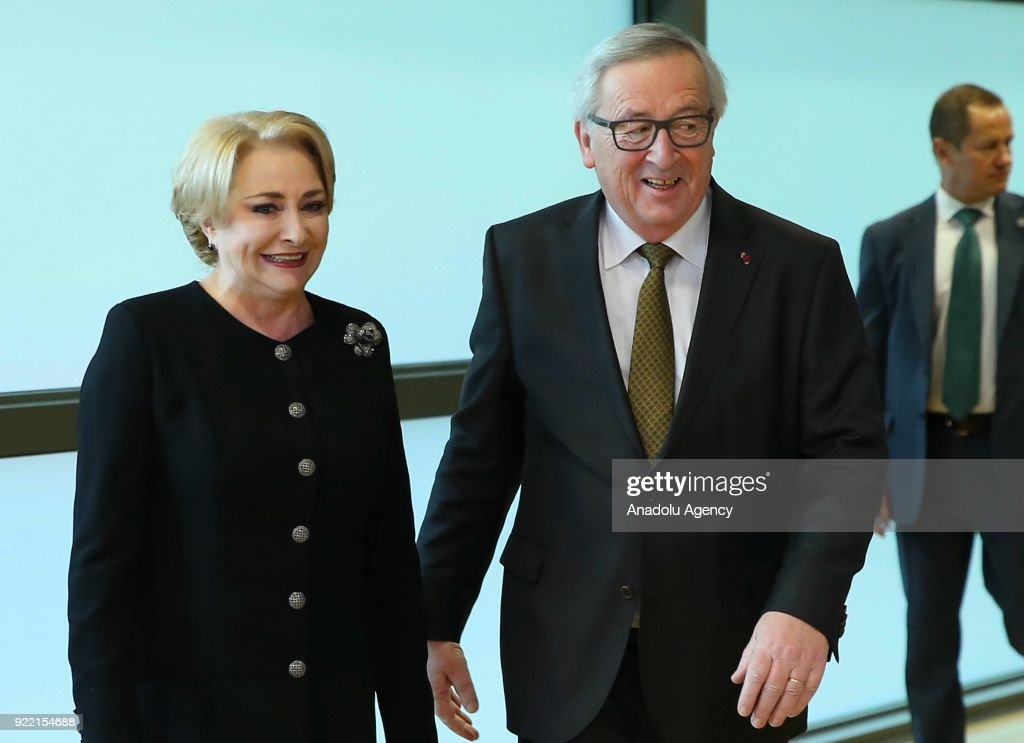Viorica Dancila - Jean-Claude Juncker meeting in Brussels : News Photo