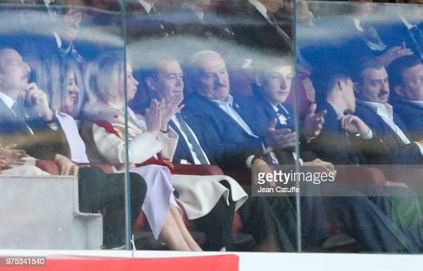 Prime Minister of Russia Dmitry Medvedev President of Belarus Alexander Lukashenko during the 2018 FIFA World Cup Russia group A match between Russia...
