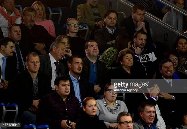 Prime Minister of Russia Dmitry Medvedev watches semifinal match between Anastasiya PavlyucenkovaKaterina Siniakova during Kremlin Cup 2014 25th...