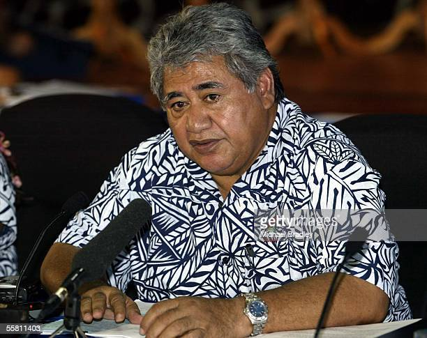 Prime Minister of Samoa Tuilaepa Sailele Malielegaoi speaks to the media during a break at the Forum Formal session in Apia Samoa Saturday 07 August...