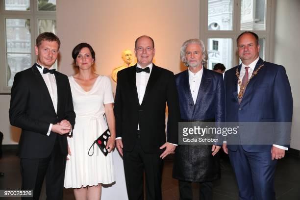 Prime Minister of Saxony Michael Kretschmer and his partner Annett Hofmann HRH Prince Albert II of Monaco Hermann Buehlbecker CEO Lambertz and Mayor...