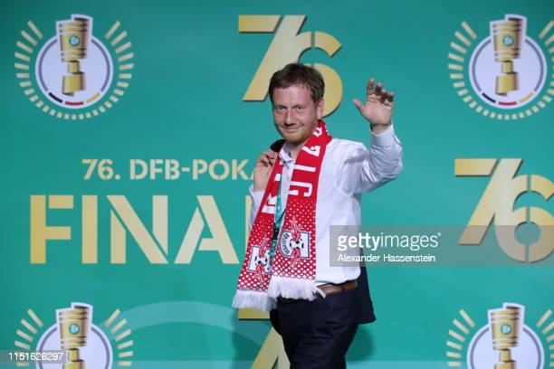 Prime Minister of Saxony Michael Kretschmer arrives for the DFB Cup final between RB Leipzig and Bayern Muenchen at Olympiastadion on May 25, 2019 in...
