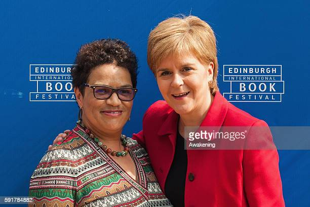 Prime Minister of Scotland Nicola Sturgeon and the poet and novelist Jackie Kay attend the Edinburgh International Book Festival on August 18 2016 in...