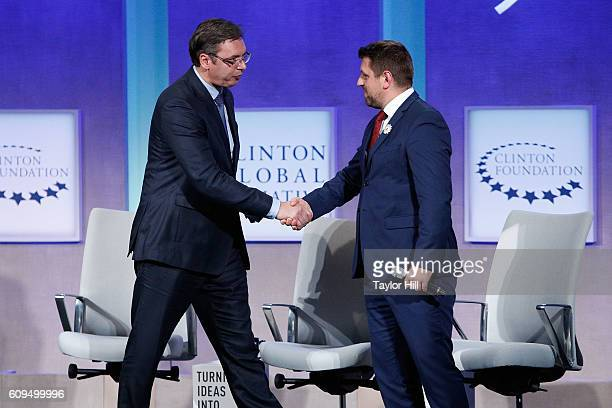 Prime Minister of Serbia Aleksandar Vucic and Srebrenica Mayor Camil Durakovic speak during the 2016 Clinton Global Initiative Annual Meeting at...