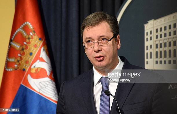 Prime Minister of Serbia Aleksandar Vucic makes a statement to the media following emergency meeting of the Serbian government as Serbian...