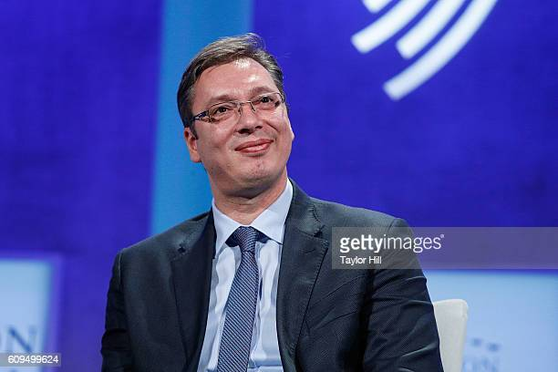 Prime Minister of Serbia Aleksandar Vucic speaks during the 2016 Clinton Global Initiative Annual Meeting at Sheraton New York Times Square on...