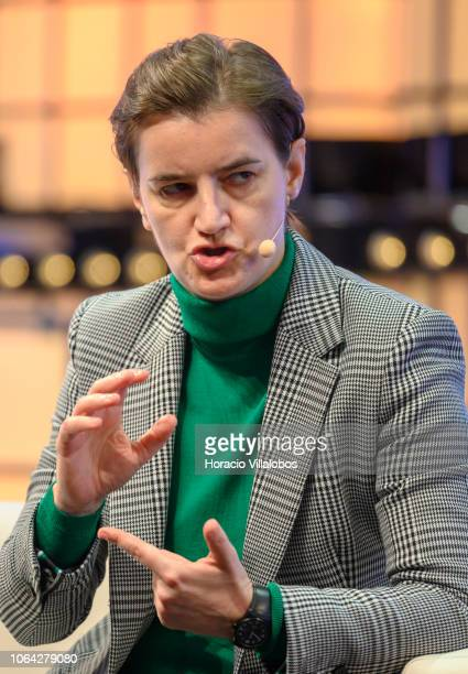 Prime Minister of Serbia Ana Brnabic delivers remarks on Can we halt the rise of fake news on the second day of Web Summit in Altice Arena on...