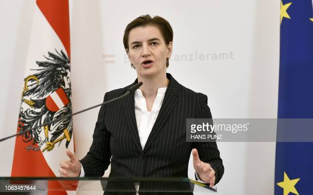 Prime Minister of Serbia Ana Brnabic gives a speech during a meeting of Western Balkan States in Vienna Austria on November 19 2018 / Austria OUT