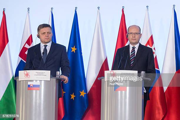 Prime Minister of Slovakia Robert Fico and Prime Minister of the Czech Republic Bohuslav Sobotka during the press conference after the meeting of...