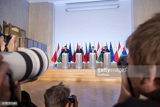 Prime Minister of Slovakia Robert Fico , Prime Minister of the Czech Republic Bohuslav Sobotka , Prime Minister of Poland Beata Szydlo and Prime...