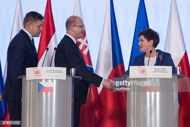 Prime Minister of Slovakia Robert Fico, Prime Minister of the Czech Republic Bohuslav Sobotka and Prime Minister of Poland Beata Szydlo during the...